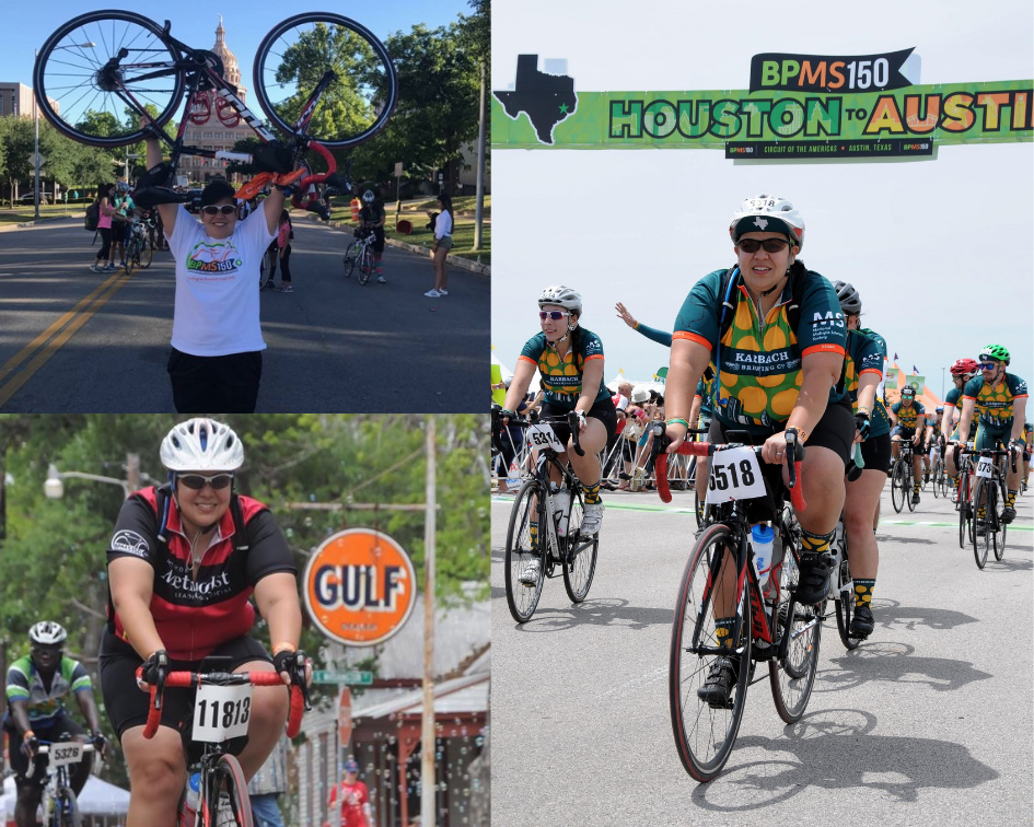 Collage of Senior Account Manager Criselda Mascorro riding her bike on the BP MS 150 ride from Houston to Austin
